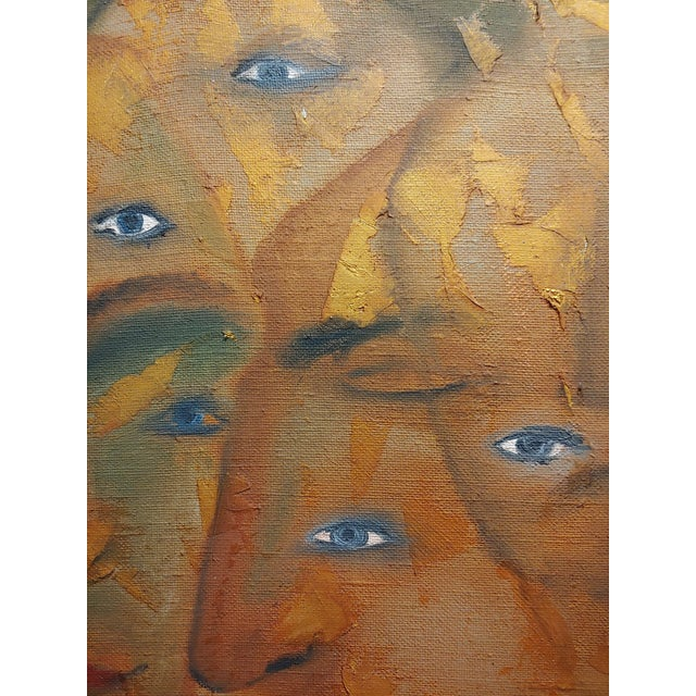 1960s Many Eyes & Faces Cubist Oil Painting Signed by Janco For Sale - Image 5 of 12