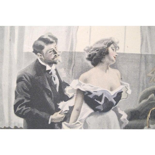 Art Nouveau 1900's Original Vintage French Boudoir \ Dressing Lithograph (Plate 2) For Sale - Image 3 of 4