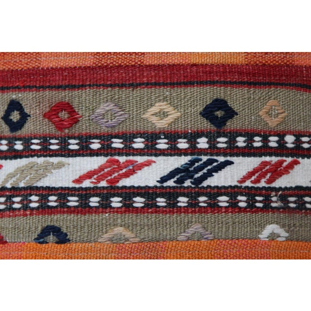 Turkish Handmade Wool Kilim Pillow Cover For Sale - Image 4 of 8