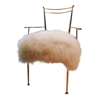 Anthropologie Rose Gold Shag Puff Chair For Sale