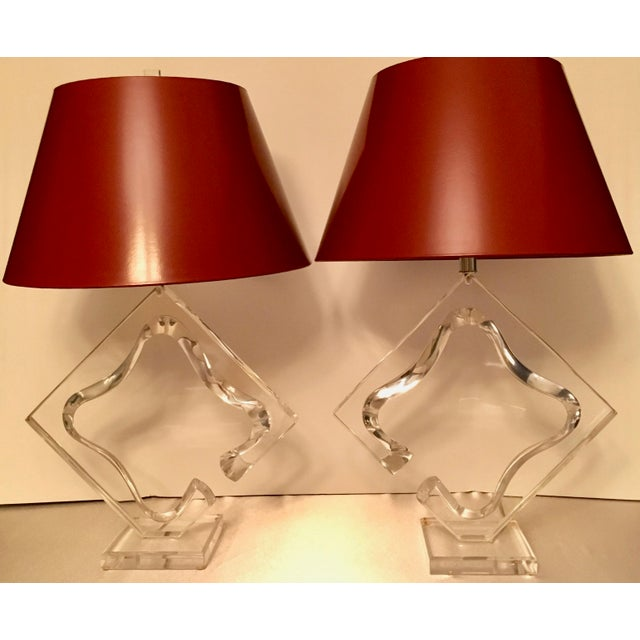 A pair of Mid Century Acrylic Lamps signed Van Teal - a perfectly modern pair ready for any room in the house, and even...