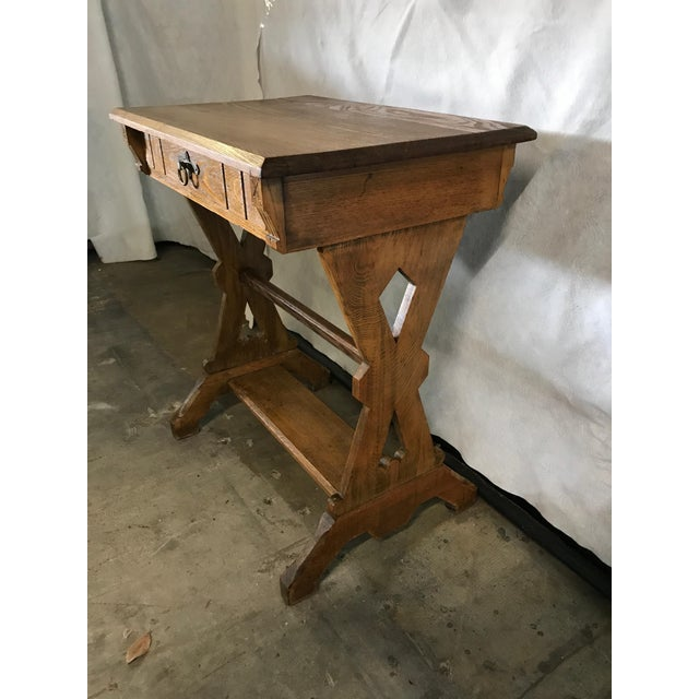 1920s Hudson River School Oak Trestle Writing Table For Sale - Image 4 of 7
