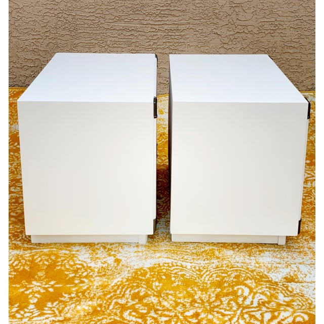 Drexel Heritage 1960's Drexel Campaign Style Nightstands-a Pair For Sale - Image 4 of 10