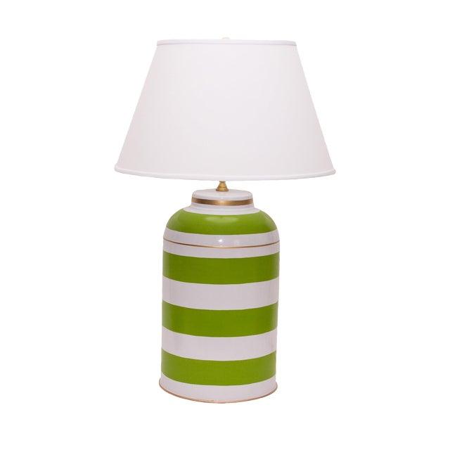 Green Stripe Tea Caddy Lamp For Sale