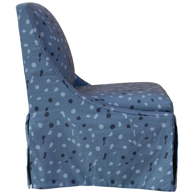 Contemporary Skirted Accent Chair in Blue Dot by Angela Chrusciaki Blehm for Chairish For Sale - Image 3 of 10