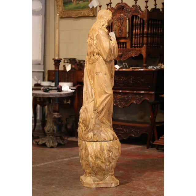 Early 19th Century French Carved Pine Religious Figure on Carved Cloud Form Base For Sale - Image 12 of 13