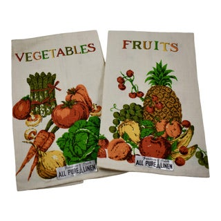 Mid-Century Fruit & Vegetable Silk Screened Linen Tea Towels, S/2 For Sale