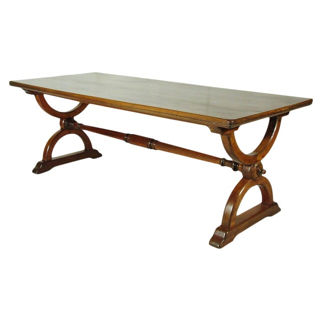 19th-C. Trestle Table - Image 1 of 2