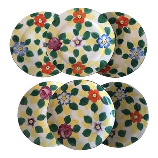 Vintage Hand Painted Dessert Plates - Set of 6 For Sale