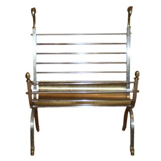 1970s Italian Steel and Brass Magazine Rack For Sale