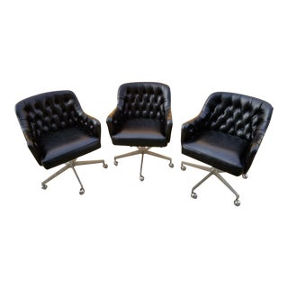 Shelby Williams Mid-Century Modern Rolling Tufted Black Leather Club / Executive Chairs - Set of 3