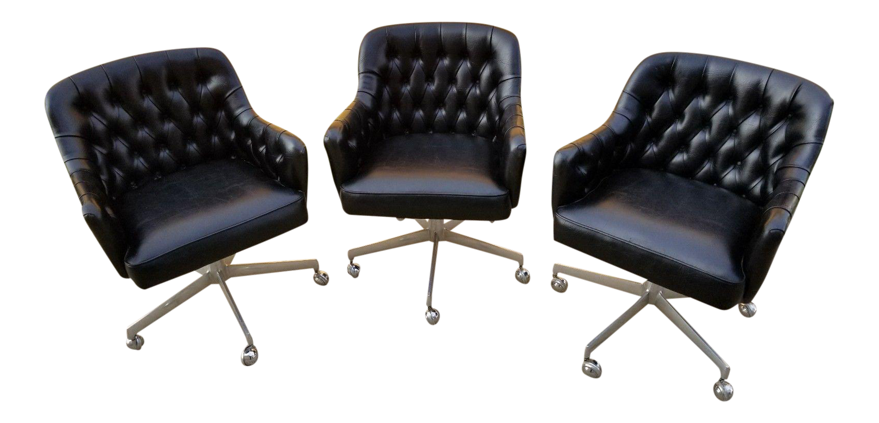 Shelby Williams Mid Century Modern Rolling Tufted Black Leather Club /  Executive Chairs   Set
