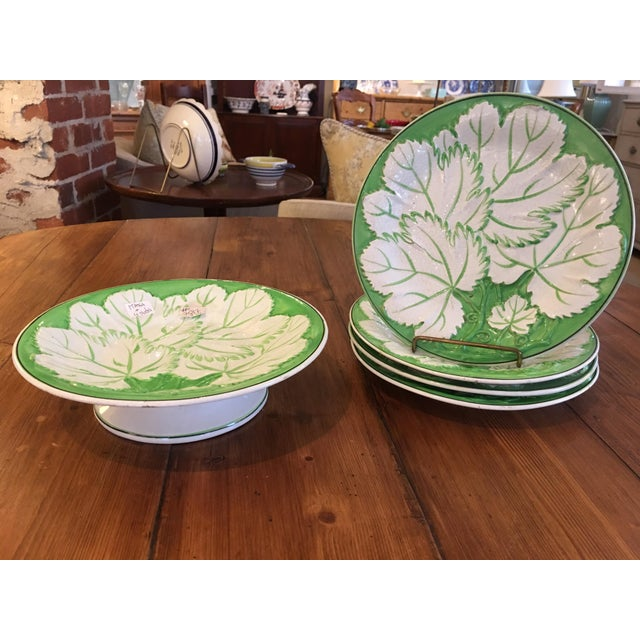 Green & White Majolica Plates & Tazza - Set of 5 For Sale In Providence - Image 6 of 6
