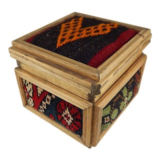 Vintage Kilim Chest, Handmade Wooden Unique Box, Gifts For Women, Jewellery Box, Decorative Storage, Tribal Turkish Decor For Sale