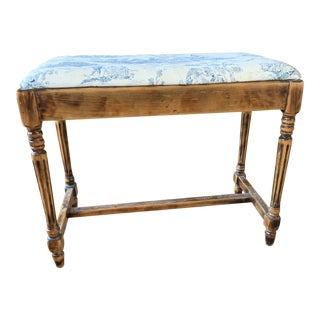 Vintage Toile Wood Bench For Sale
