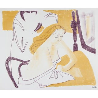 Jerry Opper Mid Century Bedroom Scene, Lithograph Print on Paper, Circa 1950s For Sale