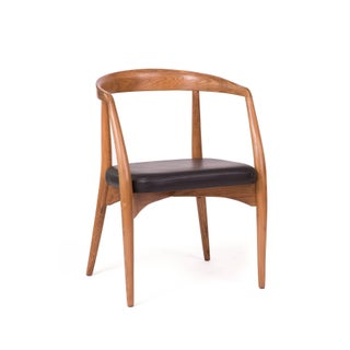 1960s Lawrence Peabody Oak Walnut and Leather Dining Chairs For Sale