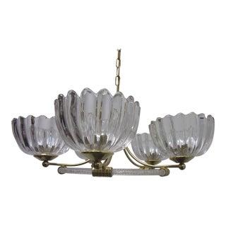 Mid Century Barovier Italian Modern Glass and Brass Chandelier For Sale
