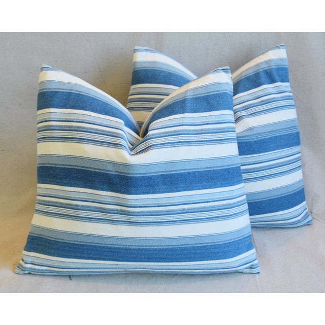 """French Blue & White Nautical Stripe Feather/Down Pillows 20"""" X 18"""" - Pair For Sale - Image 13 of 13"""