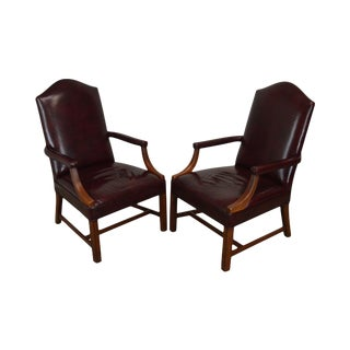 Chippendale Style Oxblood Red Leather Pair Armchairs by Harden For Sale