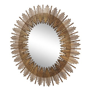 Mid-Century Modern Textured Iron Reed Oval Sunburst Wall Mirror For Sale