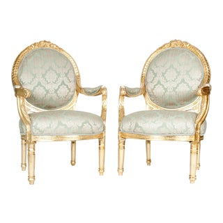 French Victorian Style Gilded Wood Frame Chairs - a Pair For Sale