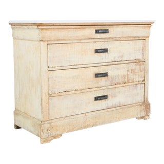 Patinated Louis Phillipe French Country Drawer Chest With Marble Top For Sale