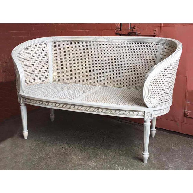 Late 20th Century White Caned Settee For Sale - Image 10 of 10