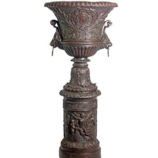 Large Contemporary Cast Bronze Krater Urn on Pedestal With Mythological Figures For Sale