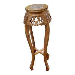 Early 20th Century Chinese Carved Wood Pedestal Table For Sale