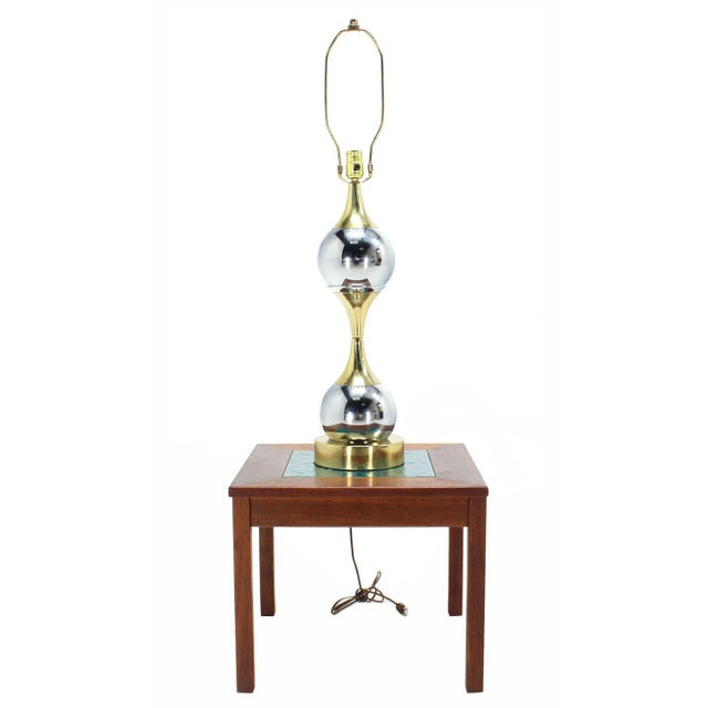 Gold Chrome Globe and Brass Table Lamp For Sale - Image 8 of 8