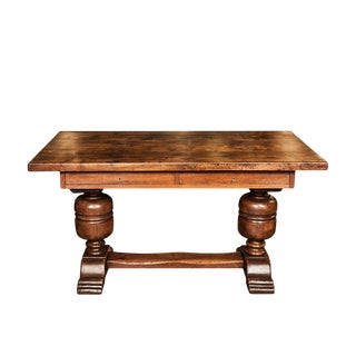 Continental Carved Oak Trestle Table/Desk For Sale
