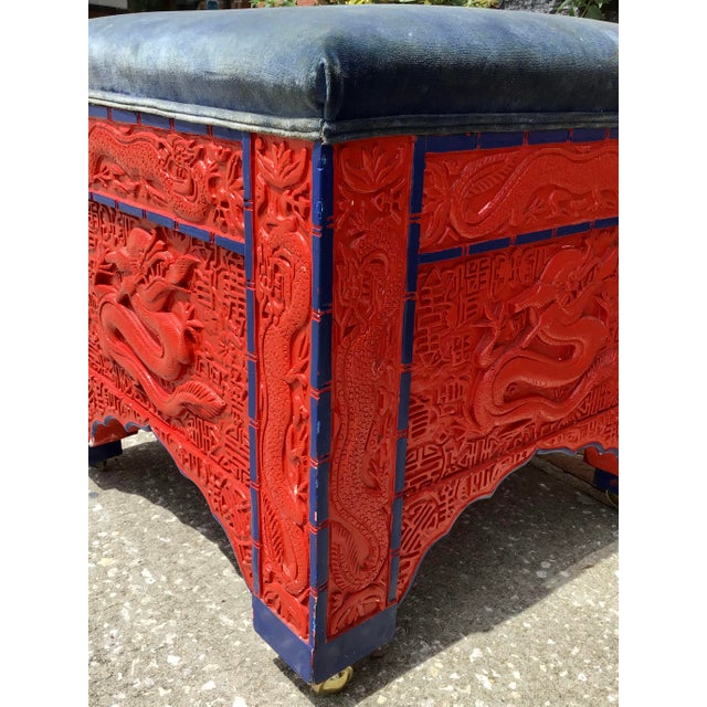 1960s Red Lacquered Asian Bench/Ottoman For Sale - Image 5 of 10