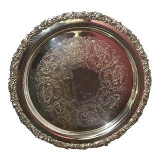 1970s Vintage Ornate Gorham Silver Plate Round Tray For Sale