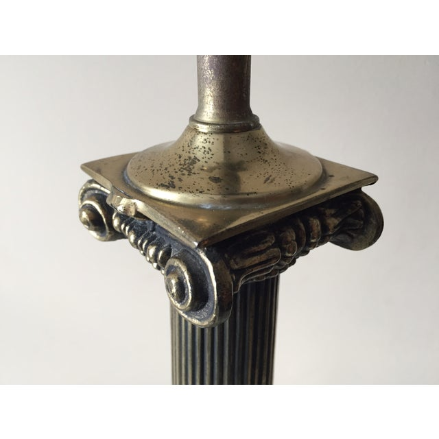 Vintage Portoro Marble & Brass Column Table Lamp - Image 4 of 9