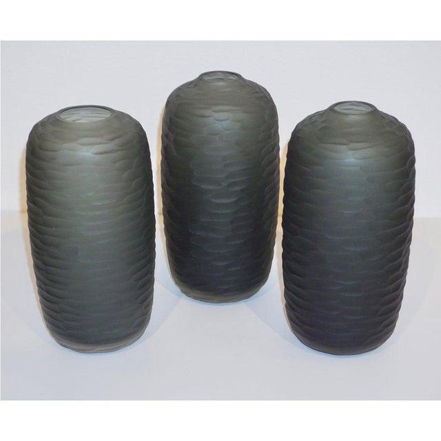 Contemporary Salviati Vintage Italian Minimalist Smoked Gray Battuto Murano Art Glass Vases For Sale - Image 3 of 12