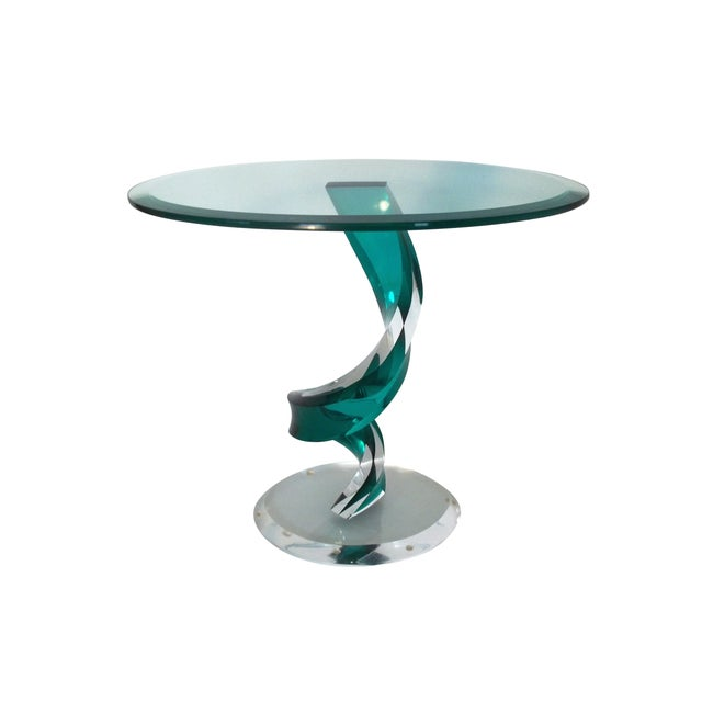 Haziza Lucite Oval Side/End Table For Sale - Image 5 of 5