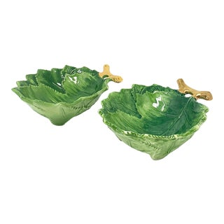 Small Green Leaf Bowls with Gold Handle, Set of 2 For Sale