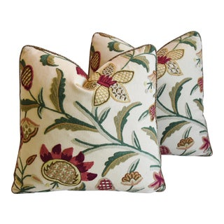 Schumacher Crewel Floral & Scalamandre Mohair Feather/Down Pillows - Pair