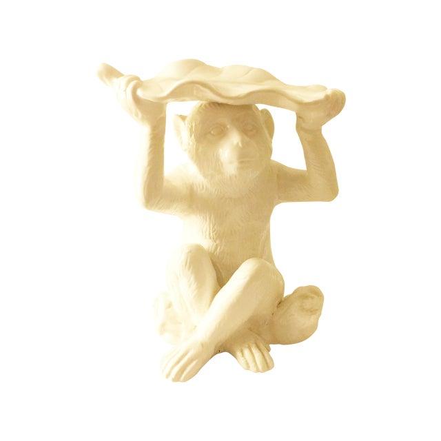 White Ceramic Monkey Sculptures - Pair - Image 1 of 3