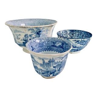 Antique Chinese & English Staffordshire Blue & White Bowls - Set of 3 For Sale