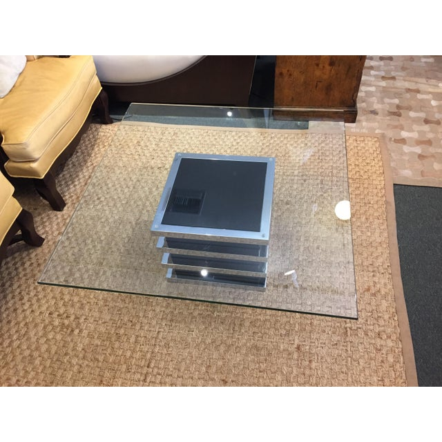 Contemporary Chrome and Glass Coffee Table - Image 2 of 8