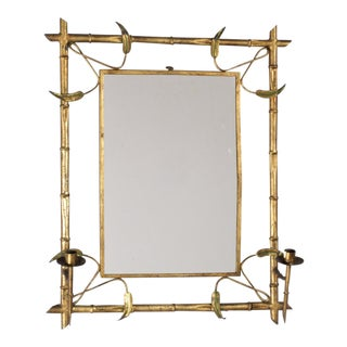 Mid Century Gilded Metal Spanish Mirror With Candleholders