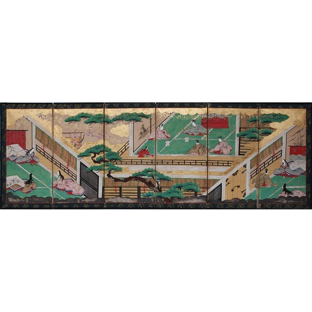 17th C. Japanese the Tale of Genji Byobu Screen For Sale - Image 13 of 13