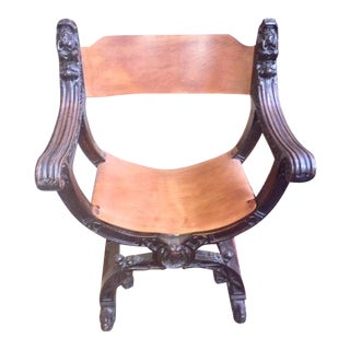 Late 19th Century English Carved Wood Arm Chair For Sale