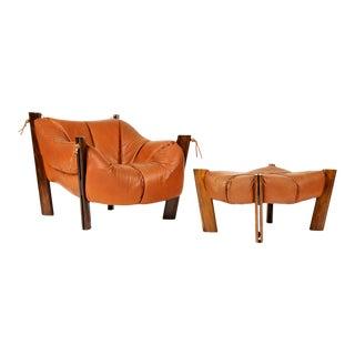 Mid 20th Century Brazilian Modernist Lounge Chair + Ottoman - Set of 2
