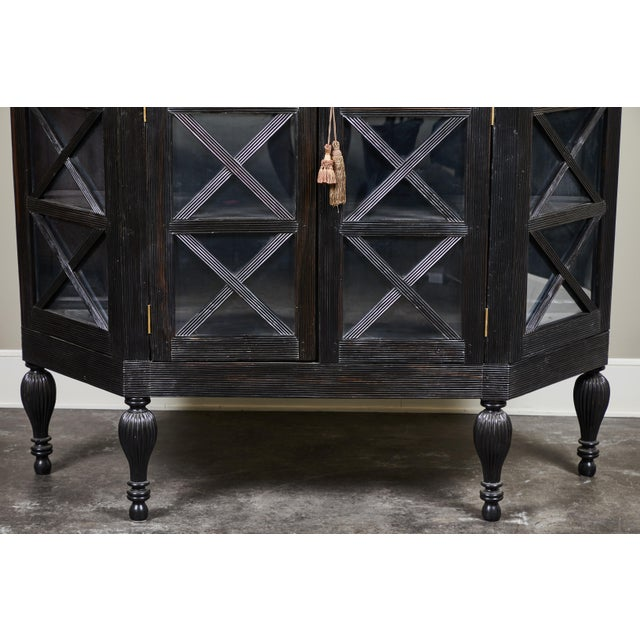 20th C. Ebony British Colonial 2-Door Display Cabinet For Sale - Image 9 of 11