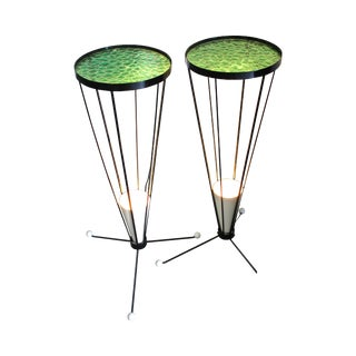 Mid Century 1950s Green Glass Atomic Light Stands - a Pair