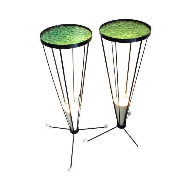 Mid Century 1950s Green Glass Atomic Light Stands - a Pair - Image 1 of 4