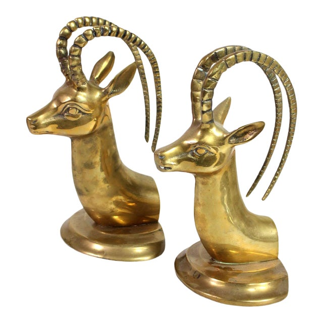 1960's Solid Brass Ibex Gazelle Him & Her Bookends - a Pair For Sale
